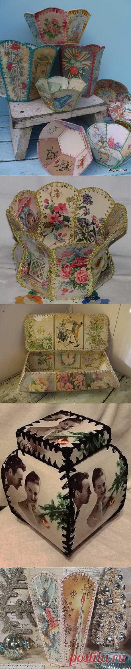 Подборка шкатулок и вызочек из открыток.