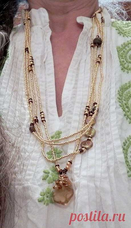 (382) Brass plated beads with amber, pyrite and fresh water pearls | Pearls | Янтарный, Латунь и Водный Жемчуг