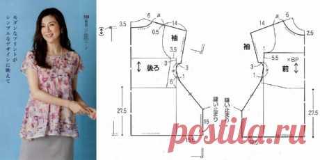 Топ-блуза с интересным низом (Выкройка)