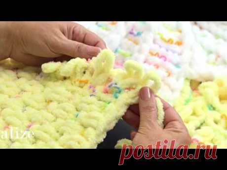 Alize Puffy Color ile Puset Battaniyesi Yapımı - Making Stroller Blanket with Alize Puffy Color