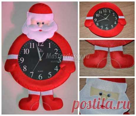 """Новогодние настенные часы """"Дед Мороз"""""""