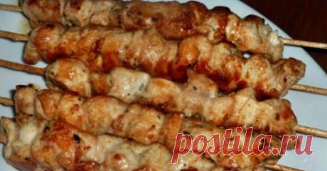 El shashlik del filete de gallina en el horno