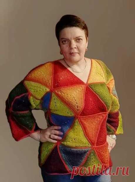 """Мое первое знакомство с """"Кауни"""" - пуловер из треугольных мотивов крючком   Левреткоман-оч.умелец   Яндекс Дзен"""