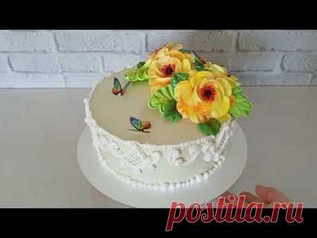 МК Нежный и стильный торт для женщины с красочными цветами. Украшение торта белковым заварным кремом