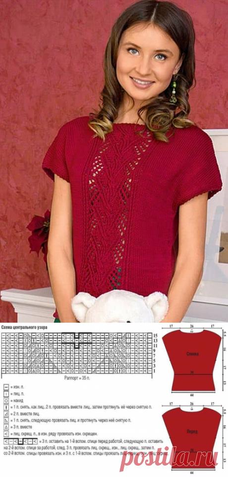 Центральный ажурный узор с косами для вязания пуловера спицами   АЖУР - схемы узоров