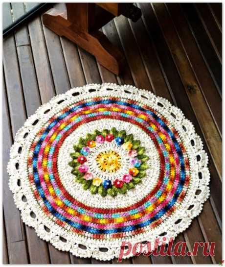 Цветной коврик крючком — HandMade