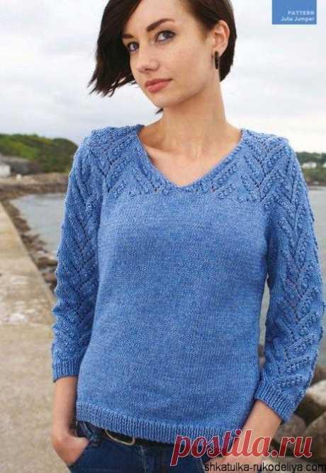 Пуловер с ажурным узором Пуловер с ажурным узором шишечки. Женский пуловер спицами с V-образным вырезом.