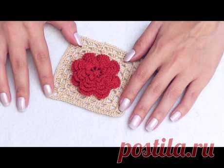 Бабушкин квадрат с цветком - мотив для пледа / КОЛЛЕКЦИЯ УЗОРОВ И МОТИВОВ КРЮЧКОМ #SM