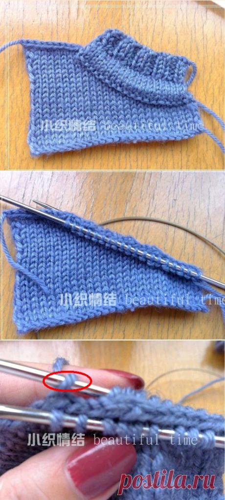 Отделка горловины вязаного спицами джемпера,свитера,подробно по фото