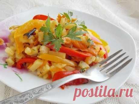 Las patatas fritas con hortalizas. La receta poshagovyy de la foto - Ботаничка.ru