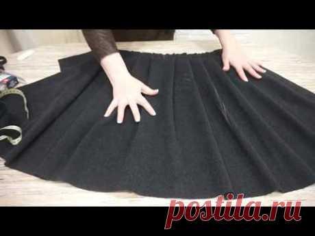 Как сшить юбку на поясе с мягкими складками и замком
