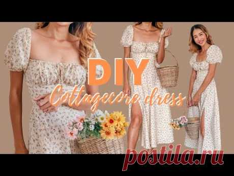 DIY PUFF SLEEVE BUSTIER MIDI DRESS - COTTAGECORE DRESS - Step by step sewing tutorial