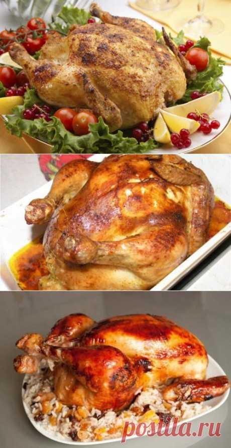 Фаршированная курица черносливом и миндалем