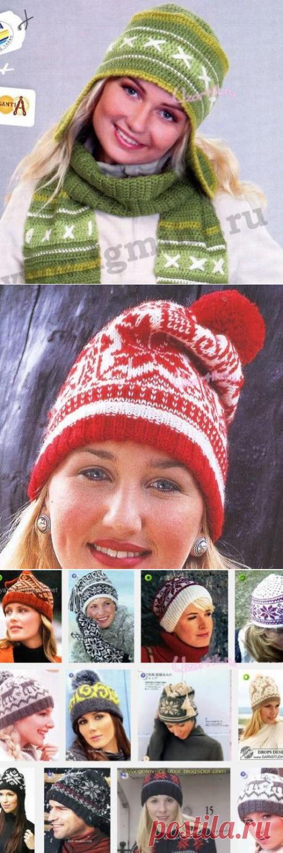 Шапки с норвежским узором - Описание вязания, схемы вязания крючком и спицами | Узорчик.ру