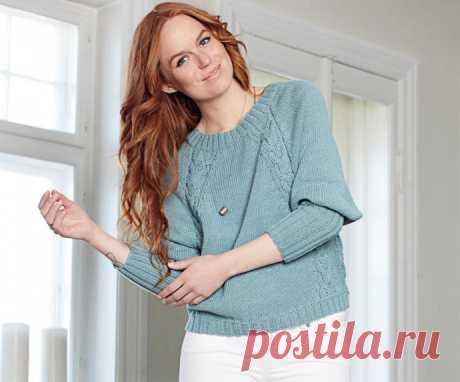 Пуловер с регланными «косами» из категории Интересные идеи – Вязаные идеи, идеи для вязания