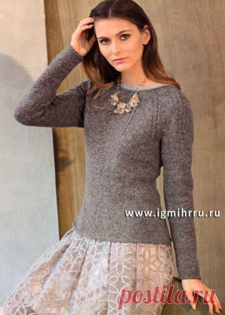 Стильный минимализм: серо-розовый пуловер с круглой кокеткой