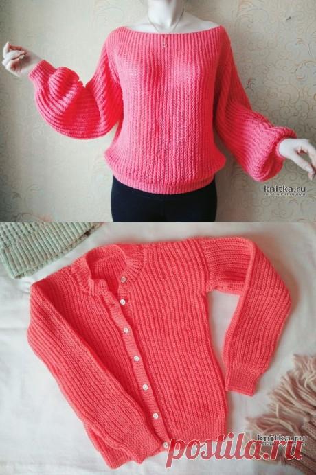 Женский вязаный пуловер с воротом лодочка. Работа Вагановой Татьяны,  Вязание для женщин