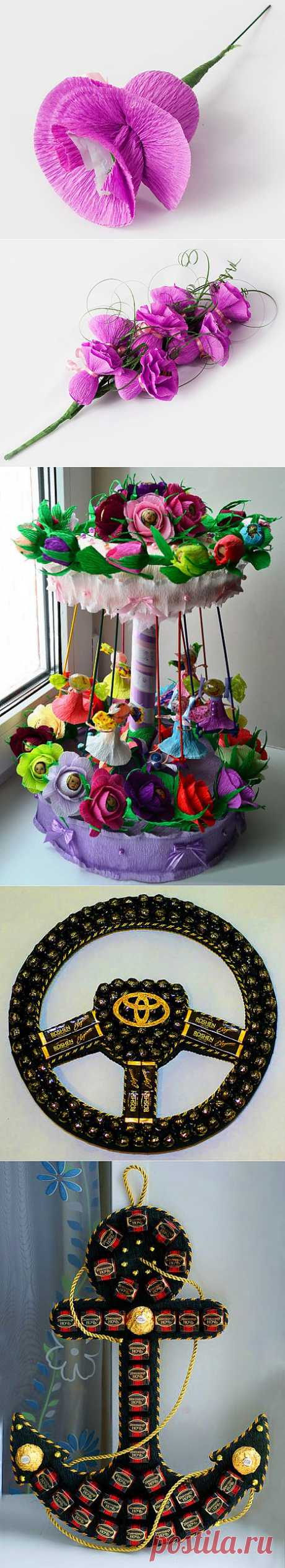 How to do BOUQUETS OF CANDIES. Bouquets from candies the hands - continuation 6