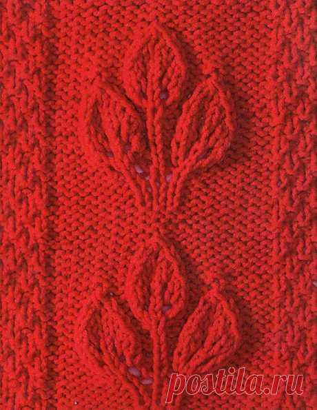 Узор с листьями спицами 42 — Shpulya.com - схемы с описанием для вязания спицами и крючком