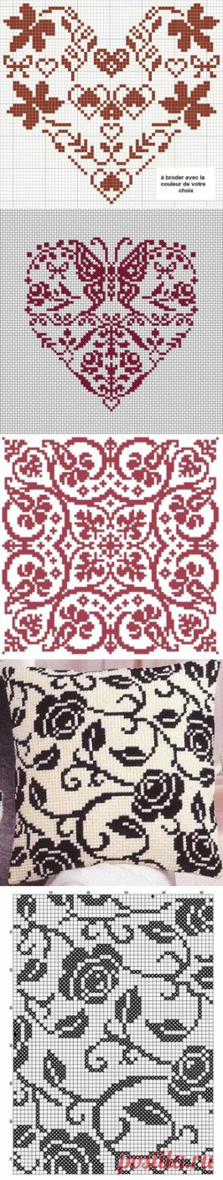 Монохромная вышивка для начинающих — схемы