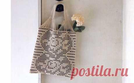 Милая сумочка с филейным узором из категории Интересные идеи – Вязаные идеи, идеи для вязания