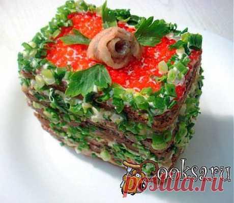 Закусочный торт селёдочно-икорный рецепт с фото