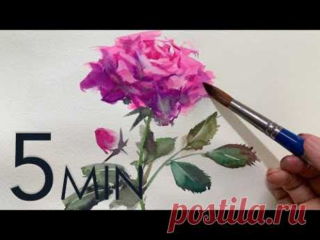 [Eng sub] 5min Easy Watercolor |  Rose flower