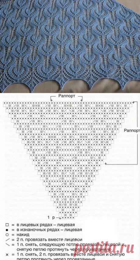 Нежный узор (подойдет для шали) для любителей вязать спицами
