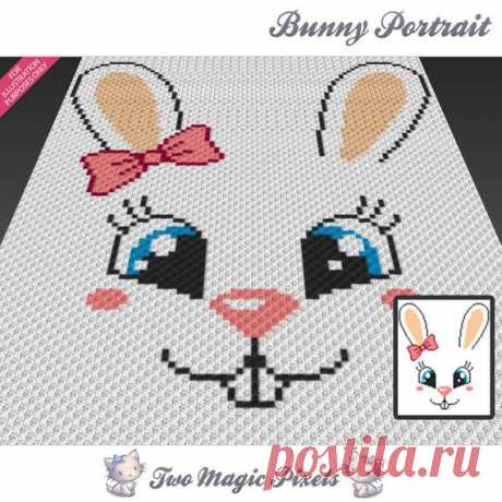 Bunny Portrait crochet blanket pattern; c2c, cross stitch; knitting; graph; pdf download; no written counts or row-by-row instructions Bunny Portrait by Two Magic Pixels is a graph that can be used to crochet a blanket using C2C (Corner to Corner), TSS (Tunisian Simple Stitch) and other techniques. Alternatively, you can use this graph for knitting, cross stitching and other crafts.  This graph design is 80 squares wide by 100