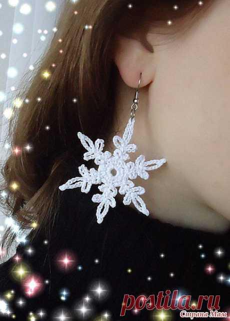 Вяжем серёжки и снежинки к новому году крючком