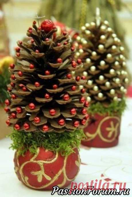 Fir-trees from cones. - record of the user Angelin (Angelina Kozharina (Nozdrycheva)) in community New year in category New Year's gifts, hand-made articles and suits