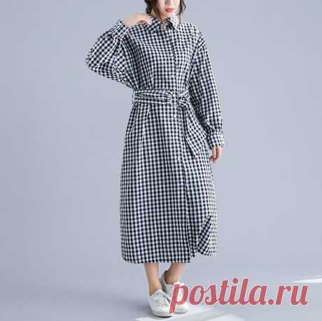 Long Sleeve Cotton Big Size Loose Office Lady Vestidos Female Casual P - idetsnkf