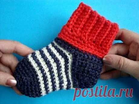 How to knit socks a hook? A master class of How to crochet socks - YouTube