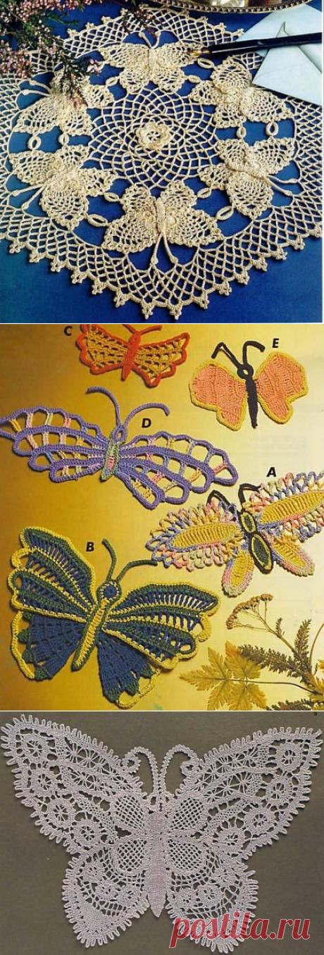 """""""...Бабочки летают, бабочки...""""... ВЯЗАНЫЕ БАБОЧКИ со схемами... И ОЧЕНЬ КРАСИВО И НЕЖНО......"""