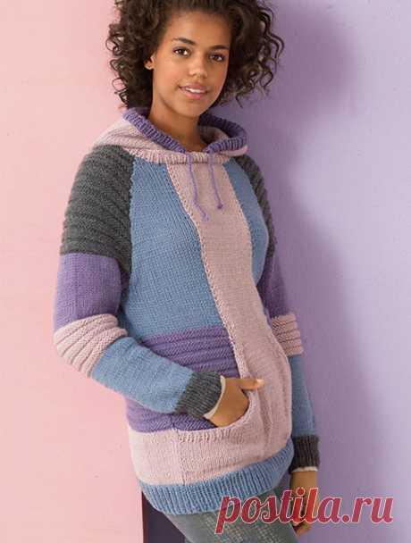 Женские пуловеры с капюшоном из мериносовой шерсти спицами – 3 схемы вязания с описанием