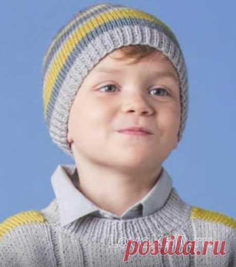 Полосатая шапочка для ребенка схема » Люблю Вязать
