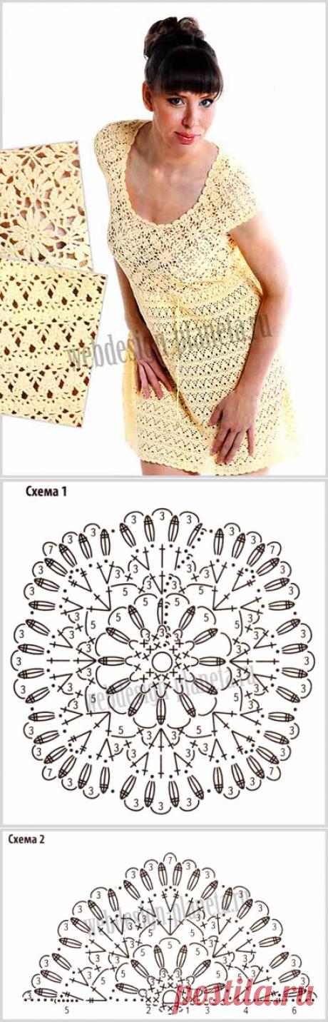 Ажурное летнее платье крючком | Вязание спицами, вязание крючком | Мир вязания