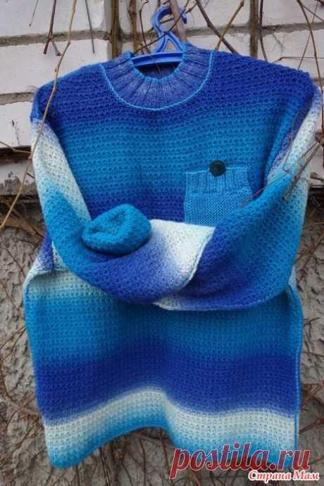 Мужской пуловер - 3 Обожаю пряжу кауни и не столько за ее цветовые переходы, они обязывают к сложным решениям,сколько за ее натуральность, качество, теплоту.