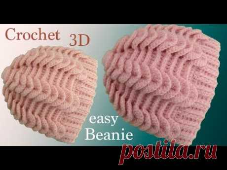 Gorro a Crochet punto trenzas 3D y punto elástico horizontal en relieves tejido tallermanualperu