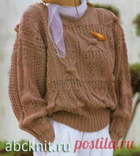 Коричневый женский джемпер спицами | Вязание спицами и крючком – Азбука вязания