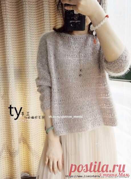 . Нежный мохеровый пуловер - Вязание - Страна Мам