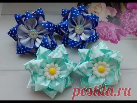 Красивые бантики из атласных лент МК Канзаши / Beautiful bows of satin ribbons