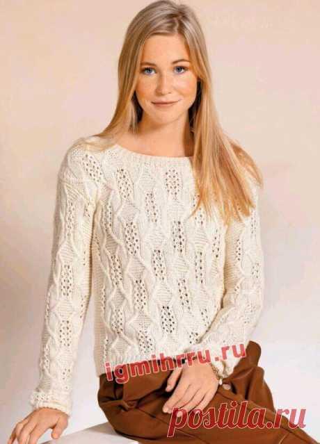 Пуловер со сквозными мотивами (и для статных дам)