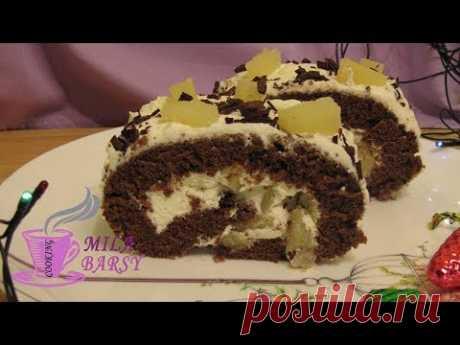 Праздничный шоколадный рулет с ананасами | Новогодний рецепт | Chocolate roll