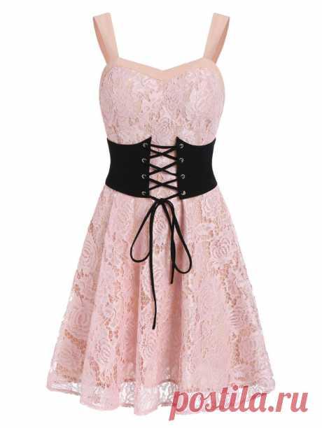 [51% OFF] 2020 Lace A Line Belted Backless Dress In PINK | DressLily