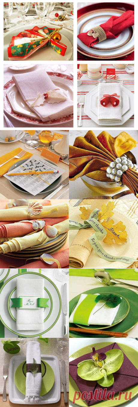 Several ways of folding of a napkin from fabric for table layout