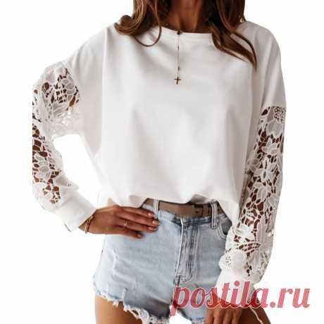 Женщины Холлоу из длинный рукав кружева шить Топ рубашка Чистая белая повседневная Loose Ежедневный топ – купить по низким ценам в интернет-магазине Joom