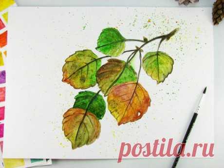 Осенние листья акварелью — DIYIdeas