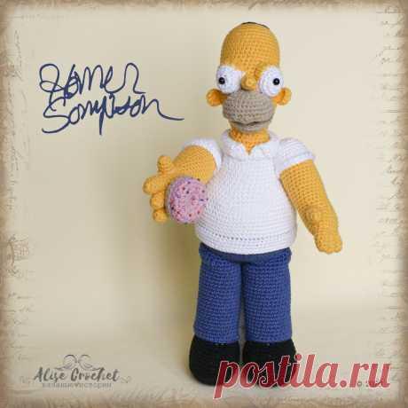Кукла Гомер Симпсон вязаный крючком