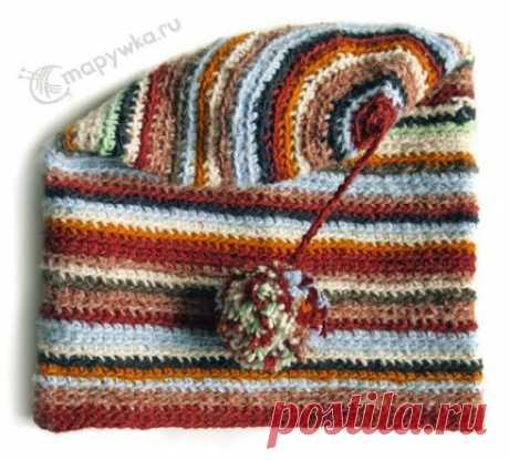 Шапка-носок полосатая разноцветная с помпоном - купить | Одежда ручной работы | HANDMADE интернет-магазин